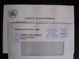 Lettres Affranchies Au Tarif électoral ( 0,05 Euros) De 2007 Et 2012 - Marcophilie (Lettres)