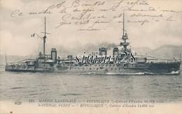 MARINE NATIONALE - N° 142 - REPUBLIQUE - CUIRASSE D'ESCADRE 14.808 Tonnes - Warships