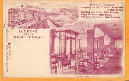 Lucerne Hotel Beau Rivage 1910 Switzerland Postcard - LU Lucerne