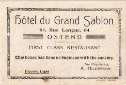 Oostende   1 Carte D´Adresse  Hôtel Du Grand Sablon Rue Longue  Langstr This House Has Done No Business With The Ennemy - Oostende
