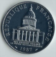 ** 100 FRANCS 1987 PANTHEON ARGENT  FDC ** - France
