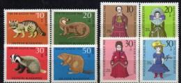 WF/Jugendserie 1968 BRD 549/2+ 571/4 ** 5€ Tierschutz Wild-Katze Dachs Fischotter Biber WWF Puppe 1850 Fauna Set Germany - Kind & Jugend