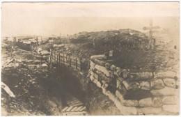 WWI German RPPC Antique Photo, Ca. 1916-18: German Trenches & Cross Near Péronne, Somme - Krieg, Militär