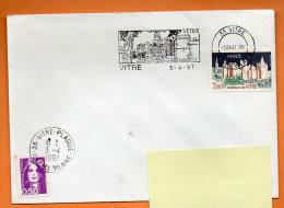 35 VITRE JOYAU DE L'ARCHITECTURE MEDIEVALE  ( Flamme Concordante ) 3 /4/ 1997  Lettre Entière N° R 946 - Postmark Collection (Covers)