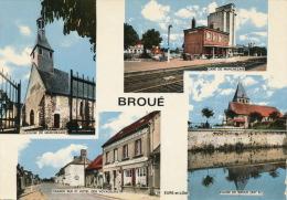 BROUÉ - Vues Multiples : Église Et Gare De MARCHEZAIS , Grande Rue Et Hôtel Des Voyageurs - Sonstige Gemeinden