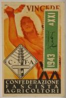 TESSERA CONFEDERAZIONE FASCISTA AGRICOLTORI 1942 CON BOLLO DEL 1943 SOVRAPPOSTO, SPEZIA #T109 - Documentos Históricos