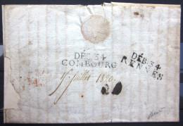 DEB 34/COMBOURG, 37 X 9, 1820 + DEB 34/RENNES, Très Rare, TB - 1801-1848: Precursori XIX
