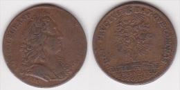 JETON LOUIS XIV En Cuivre à Identifier, Diamètre 25 Mm (voir Scan) - Royal / Of Nobility