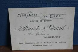 TOULOUSE          CARTE  DE  VISITE    PUBLICITAIRE   ALBAREDE  &  TINARD - Visitekaartjes