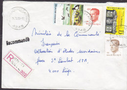 Belgium Registered Recommandé VERLAINE (LIEGE) Label CHARON-SERAING Cancel 1988 Cover Lettre Baudouin Bird Vogel Oiseau - Belgien
