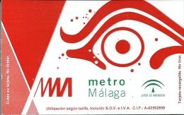 TICKET METRO MALAGA - SUBWAY - UNDERGROUND - Subway