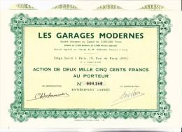 ACTION DE 2500 FRS -  DIVISE EN 1320  ACTIONS -LES GARAGES MODERNES  - - Automobile