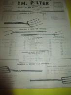 Prospectus Recto-Verso/ Instruments Agricoles/ Fourches /TH. PILTER/Paris/  Vers 1950  VP670 - Agriculture