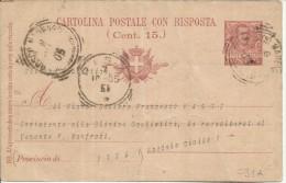 ITALIA REGNO CARTOLINA POSTALE CON RISPOSTA INTERO USATO  - ITALY KINGDOM POSTCARD 6 10 1905 BOSCO MARENGO CENT. 7 1/2 - Interi Postali