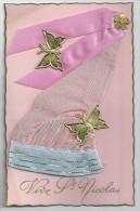 Cpa: Vive SAINT NICOLAS (Bonnet Tissu Rose Et Bleu, Papillons) - Holidays & Celebrations