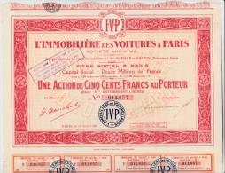 ACTION DE 500 FRS -L'IMMOBILIERE DES VOITURES A PARIS - 1926 - Automobile