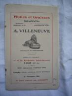 Petit Catalogue + Carte Pub Ancien Huiles Et Graisses Industrielles  A.Villeneuve Paris 1916 - Advertising