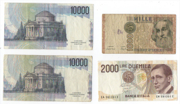 Lot 9 Billets De Banque Lire Italie état D´usage - Italie