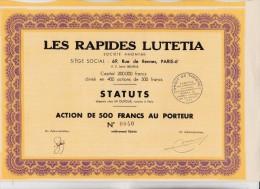 ACTION LES RAPIDES LUTETIA - DIVISE EN 400 ACTIONS DE 500 FRANCS- 1939 - Transports