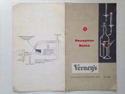 VERNEY'S, HIGH STREET, BECKENHEIM, KENT, Reception Notes (catering Menu) - Menus