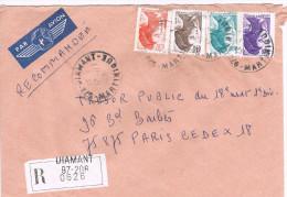 Iberté De Gandon 2276 + 2182 + 2183 + 2190 Sur LR CàD De Diamant ( Martinique ) Du 12-11-1986 - Marcophilie (Lettres)