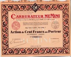 ACTION DE 100 FRANCS CARBURATEUR MEMINI  - 1931 - Automobile