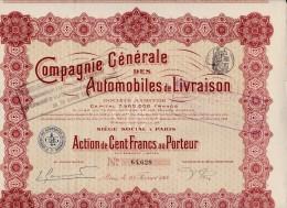 ACTION DE 100 FRANCS -COMPAGNIE GENERALE DES AUTOMOBILES DE LIVRAISON -1914 - Automobile