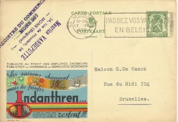 PUBLIBEL 209 Teintes Indanthren  De Mons Vers Bruxelles  1936 - Stamped Stationery