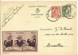 PUBLIBEL 314 Koloniale Loterij  Van Leuven (Kampenhout) Naar Brussel 1939 - Publibels