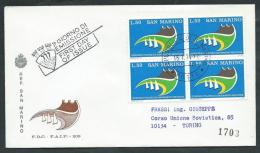 1974 SAN MARINO FDC FAIP GIORNATA FILATELICA QUARTINA TIMBRO DI ARRIVO - RD3-2 - FDC