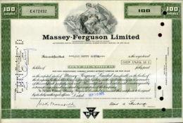 X CERTIFICATO AZIONARIO MASSEY FERGUSON LIMITED 100 SHARES 1973 STOCK - Agricoltura