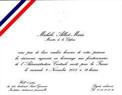 Carton Invitation Ministre De La Défense - Michèle Alliot-Marie 2005 - Gravure En Relief - Dokumente