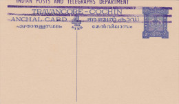 Travancore-Cochin - Stationery Anchal Card - Entier Ganzsache - éléphant Elefant - Travancore-Cochin