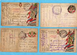 MARCOPHILIE 4 Cartes FM- ITALIENNES -cad Et Regt --+censure D'entrée -pour  Françe - Guerre De 1914-18