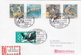 BRD 886, 1592-1595 MiF Auf R-Brief Mit Sonderstempel: Lauchheim 150 Jahre Post 16.8.1992 - BRD