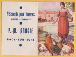 CALENDRIER DE POCHE 1952  PUBLICITE VETEMENTS AGACIE A PACY SUR EURE  BON ETAT  ! ! ! - Calendriers