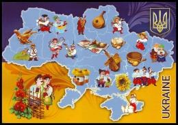 MAP OF UKRAINE WITH TRADITIONAL COSTUMES AND ETHNIC SYMBOLS. Unused Postcard - Ukraine