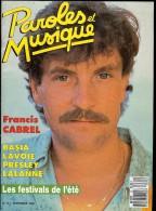 Revue PAROLES Et MUSIQUE N°72 1987  FRANCIS CABREL, BASIA, LAVOIE, PRESLEY, LALANNE - Musique