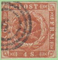 DEN SC #4a  1854 Royal Emblems  3 Margins, CV $15.00 - 1851-63 (Frederik VII)