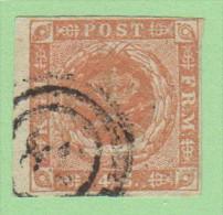 "DEN SC #4a  1854 Royal Emblems  4 Margins  ""38""? (Lemvig) In Conc. Circs., CV $15.00 - 1851-63 (Frederik VII)"