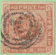 DEN SC #4a  1854 Royal Emblems  4 Margins, CV $15.00 - 1851-63 (Frederik VII)