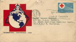 1952  Red Cross Conference  Sc 317 Herman Jacobi Cacheet To West Pakistan Rare Destination - First Day Covers