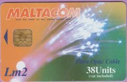 Malte  155.A  :-.   Maltacom  --  Fibre  Optic  Cable  °  Morse  Key   Grand Laser 2824   **   T B E - Malte