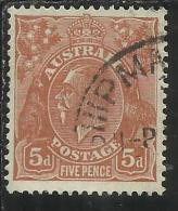 AUSTRALIA 1914 - 1924 KING GEORGE V RE 5 D ORANGE BROWN (1915) USATO USED