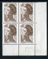 """Bloc** De 4  Timbres De 1982 """"0.40 - Marianne De Gandon - Type Liberté"""" Avec Date  11 . 1 . 82 (2 Traits) - 1980-1989"""