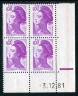 """Bloc** De 4  Timbres De 1982 """"0.50 - Marianne De Gandon - Type Liberté"""" Avec Date  3 . 12 . 81 (1 Trait épais) - Coins Datés"""