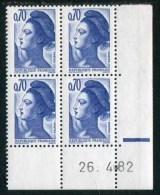 """Bloc** De 4  Timbres De 1982 """"0.70 - Marianne De Gandon - Type Liberté"""" Avec Date  26 . 4 . 82 (1 Trait épais) - Coins Datés"""