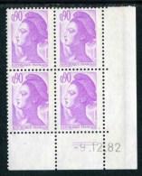 """Bloc** De 4  Timbres De 1982 """"0.90 - Marianne De Gandon - Type Liberté"""" Avec Date  9 . 12 . 82 (2 Traits) - Coins Datés"""