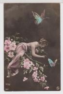 FEMMES - FRAU - LADY -  Femme Avec Fleurs Et Papillons - Reutlinger - Vrouwen