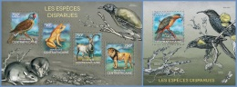 ca14318ab Central African 2014 The extinct species 2 s/s Bird Parrot Rat